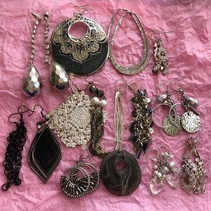 15 Pairs Black Silver Grey Fancy Earring Lot